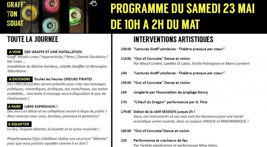 Programme de l'événement Graff Ton Squat, le 23 mai 2015 à Nancy