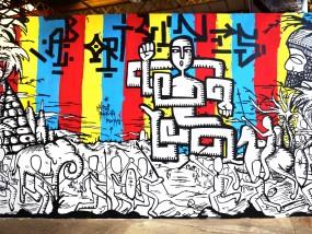 """""""Ab Origines"""" Fresque réalisée par Hyperactivity lors de la Big Jam à Nancy le 27 et 28 juillet 2015"""