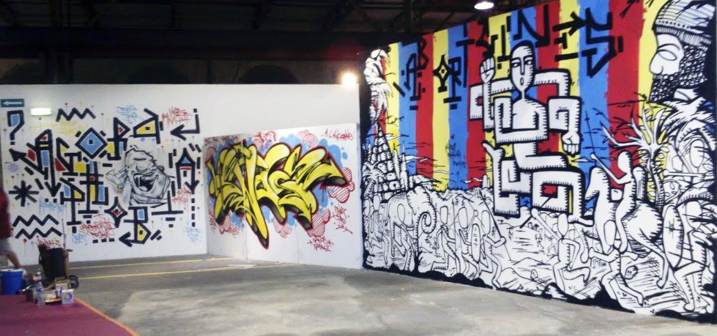 Les 3 oeuvres réalisées par Hyperactivity lors de la Big Jam à Nancy les 27 et 28 juin 2015