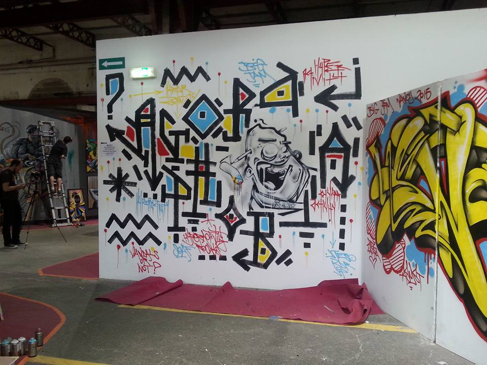 """""""Agora Phobia"""" : Freestyle réalisé lors de la Big Jam à Nancy le 28 juillet 2015 (personnage central peint par Scaf)"""