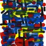 Amanita, calligraphie expérimentale réalisée au calame et à l'encre de Chine, rehaussée à la gouache et à l'acrylique sur papier d'art A4
