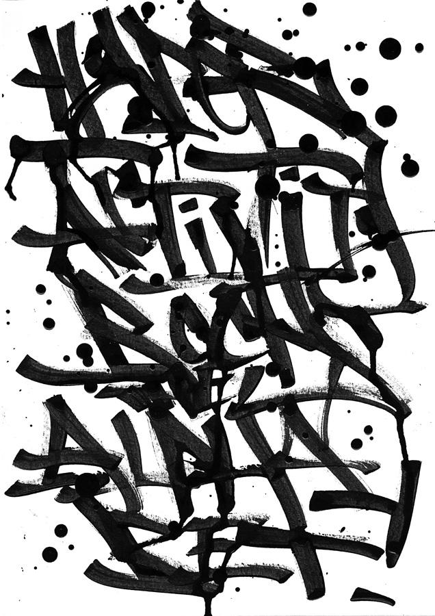 Hyperactivity Rocks The Alphabet, Calligraphie réalisée au calame en bambou et à l'encre de Chine sur papier d'art par Hyperactivity.