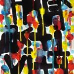 Calligraphie abstraite et expérimentale réalisée à l'encre et à l'acrylique avec des marqueurs drip sticks par Hyperactivity