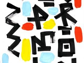Mare e Monti, calligraphie réalisée au calame et à l'encre de Chine, rehaussée à la gouache et à l'acrylique sur papier d'art A4