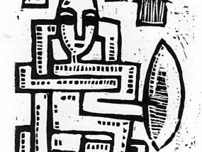Territoire - Estampe réalisée par Hyperactivity à partir d'une linogravure et imprimée à la main sur papier d'art