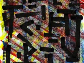 Camouflage, calligraphie expérimentale réalisée au calame à l'encre de Chine, acrylique et gouache.