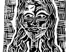 Eikon, Estampe réalisée sur papier d'art au format A5 à partir d'une linogravure