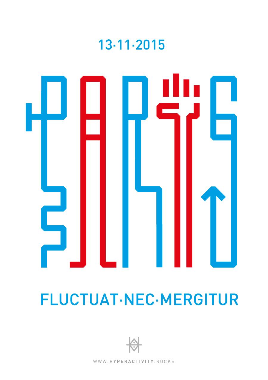 Paris 13-11-2015 fluctuat nec mergitur, composition typographique en hommage aux victimes des attentats à Paris le 13 novembre 2015