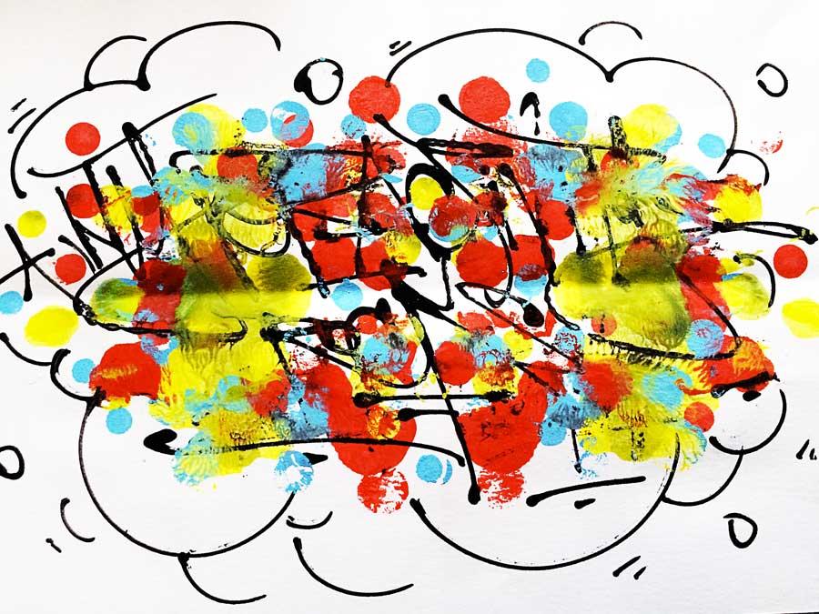 """""""Pointillisme Trouble"""", tag """"Hyperactivity Rocks"""" recouvert de touches d'encres et de peinture. Techniques mixtes : encres, acrylique et marqueurs. Format A3, 180g / m2."""