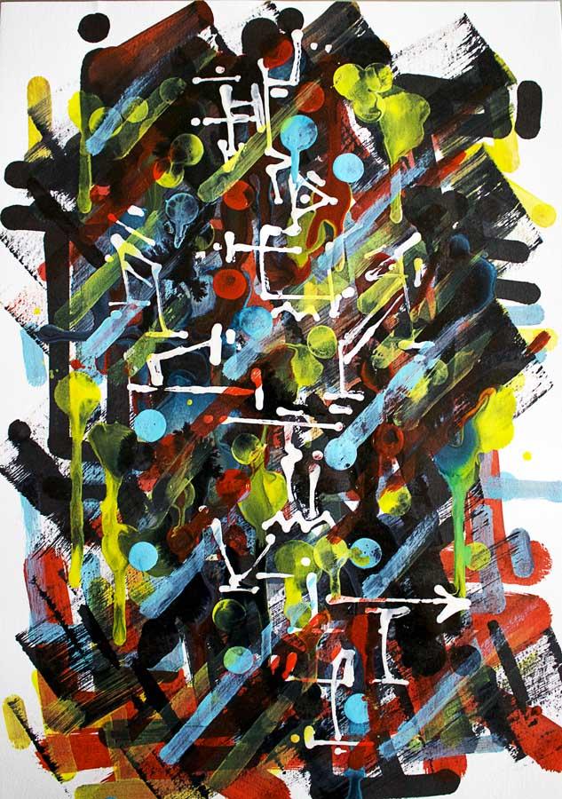 Casus Belli, oeuvre abstraite, calligraphie expérimentale et superposition de couches d'encre et de peinture