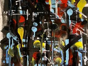 Guerre Tribale, peinture abstraite composée de superpositions de couches de peinture et de typographies expérimentales