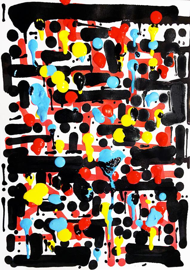 New Order, peinture abstraite et expérimentale figurant une sorte de système de communication pictural complexe et codé