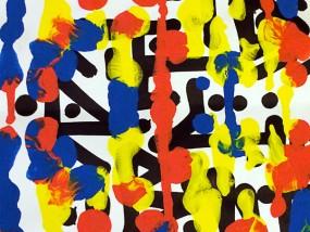 Obfuscated, oeuvre expérimentale abstraite, superposition de couches de peinture et d'encre sur une composition calligraphique