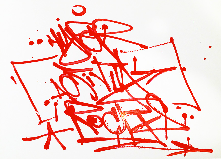 "One Line, handstyle, tag ""Hyperactivity Rocks"""