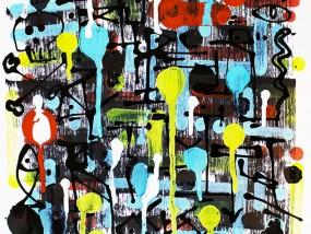 Sauvage, oeuvre abstraite mêlant calligraphie expérimentale et icônes minimalistes