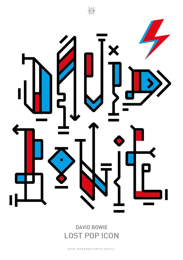 David Bowie Lost Pop Icon, typographie expérimentale réalisée en hommage à l'artiste David Bowie