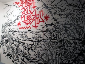 Fresque réalisée au pinceau en tracé direct sur mur d'appartement, inspirée des gravures représentant une scène de bataille épique