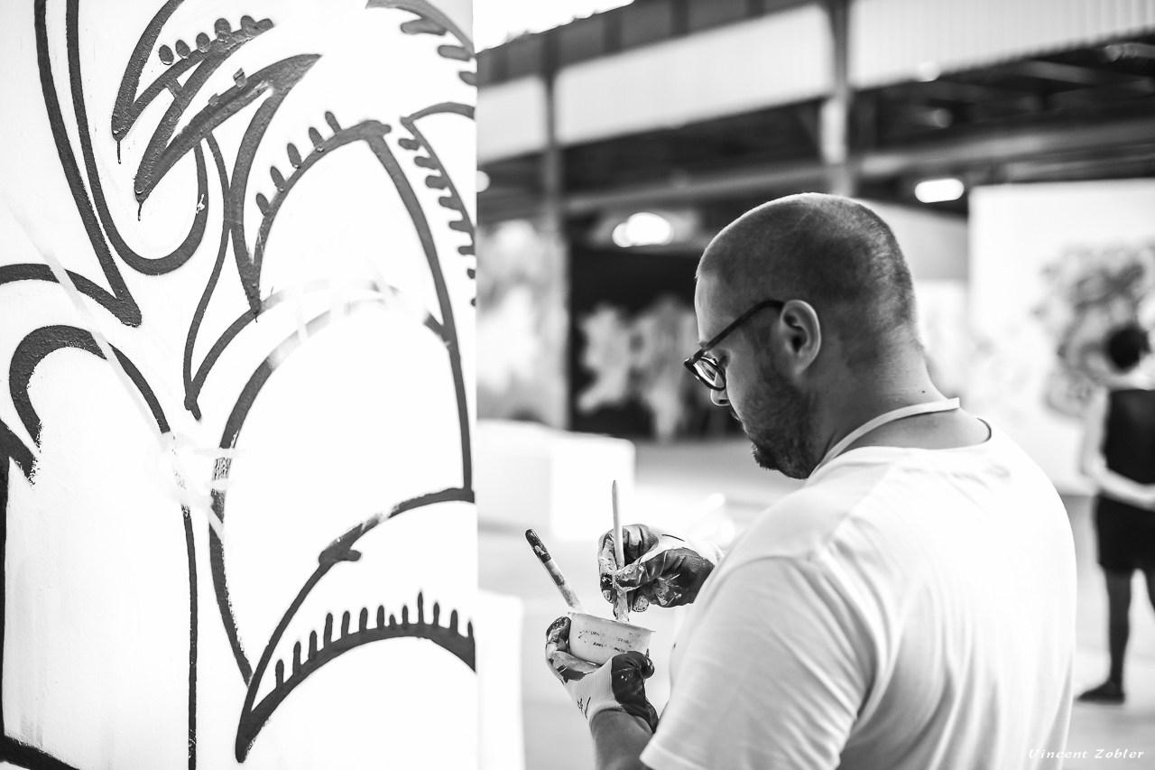 Photos de Vincent Zobler prises pendant la performance artistique d'Hyperactivity Rocks lors du festival graffiti Big Jam à Nancy 2015
