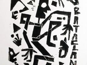 """""""Bataclan"""", linogravure, estampe par hyperactivity en hommage aux victimes des attentas de Paris le vendredi 13 novembre 2015"""