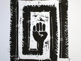 """""""La Mano Sporca"""", estampe imprimée artisanalement à partir d'une gravure sur bois (contreplaqué japonais) dans la tradition de l'Ukiyo-e."""