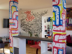 """""""Number 3"""", peinture murale, décoration d'appartement de particulier, par hyperactivity rocks"""