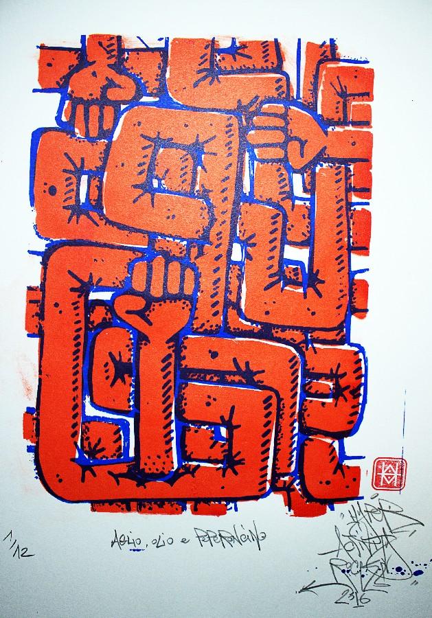 Aglio, Olio e Peperoncino, impression d'estampes en tirage limité, sérigraphie artisanale réalisée par Hyperactivity Rocks 2016