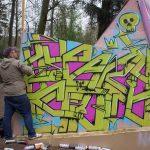 Peinture graffiti réalisée en live lors du Chill Up Festival à la Pépinière de Nancy par Hyperactivity Rocks, 2016