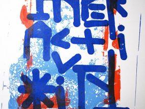 """""""49*3"""", impression artisanale d'estampes sérigraphiées en tirage limiteé à 12 exemplaires par Hyperactivity Rocks 2016"""