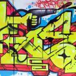 Graffiti réalisé en public et en direct de la soirée Hands Up au Quai Son à Nancy, Mai 2016