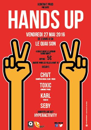 Graffiti Live Act de l'artiste Hyperactivity lors de la soirée Hands Up au Quai Son à Nancy le 27 mai 2016