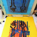 """Hands Up"" impression artisanale de 7 estampes en sérigraphie 3 couleurs, tirage limité par Hyperactivity Rocks 2016"