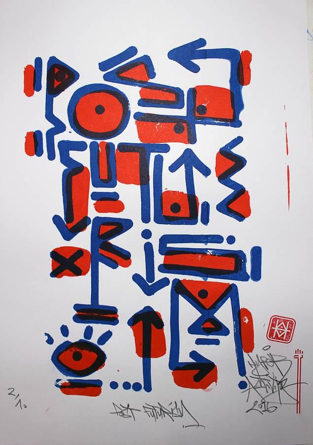"""""""Post Futurism"""", impression artisanale d'estampes sérigraphiées en tirage limiteé à 12 exemplaires par Hyperactivity Rocks 2016"""