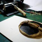 """""""Scribendi Origines"""", estampe imprimée traditionnellement à partir d'une gravure sur bois par Hyperactivity Rocks en 2016"""