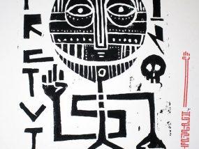 """""""Underground Resistance"""", impression artisanale de 7 estampes à partir d'une linogravure par Hyperactivity Rocks en 2016"""