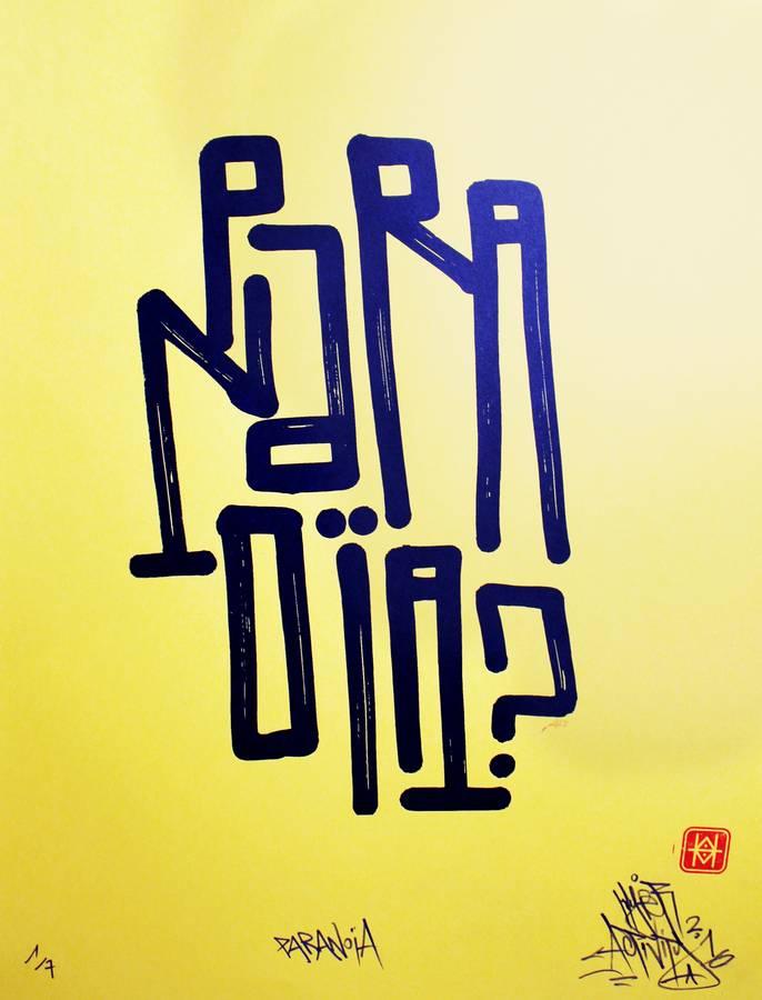 """Paranoïa"", sérigraphie artisanale par Hyperactivity Rocks, 2016"