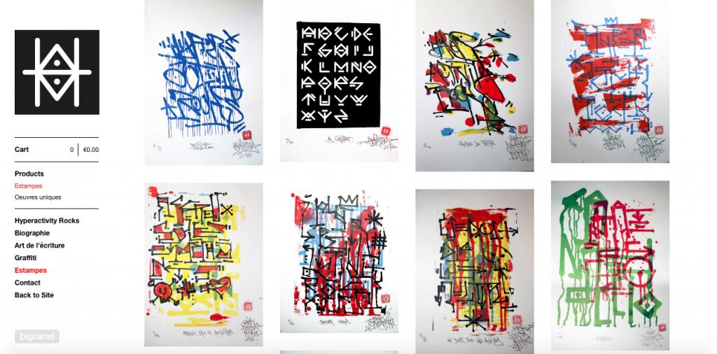 Boutique en ligne Hyperactivity Rocks vente d'estampes gravures serigraphies