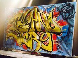 Graffiti peint lors de la soirée Techno Story 5 à l'Autre Canal (Nancy) avec Dj Hell