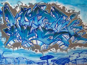"""""""Un Giorno All'Improviso"""", peinture sur toile 80x40cm, thématique sur la ville de Naples"""