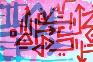 """""""Autodestruction"""", sérigraphie artisanale, estampe imprimée par Hyperactivity Rocks"""