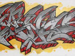 """Non Inultus Premor"", graffiti sur toile 90x30cm par Hyperactivity"