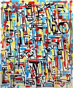 Masters, calligraphie expérimentale sur toile 50 x 60cm par Hyperactivity Rocks