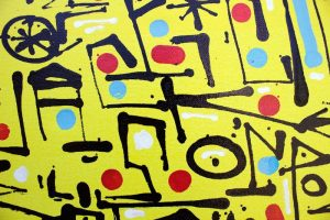 Name Dropping, calligraphie expérimentale sur toile par Hyperactivity Rocks