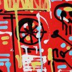 """""""The Auto-Destruction will not be televised"""", peinture et calligraphie expérimentale sur toile par Hyperactivity Rocks"""