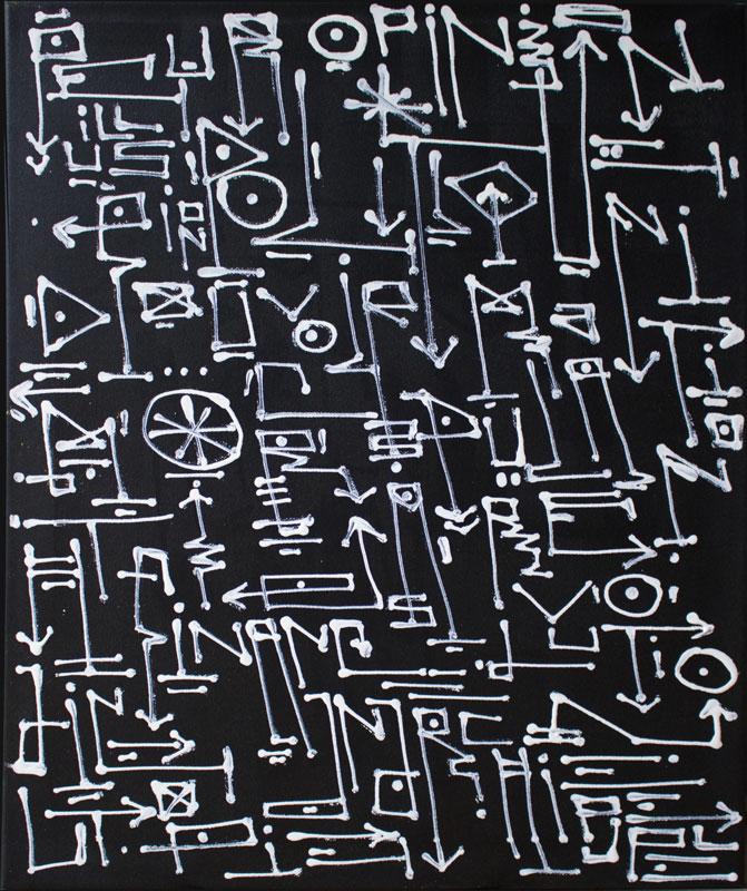 Les Idées Claires, calligraphie expérimentale sur toile