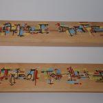 """""""Bibliofil"""", calligraphie expérimentale sur étagères d'une bibliothèque en collaboration avec les Ateliers Walser"""