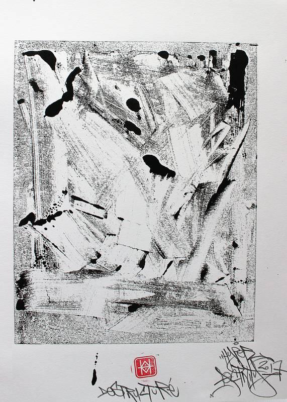 """""""Déstructuré"""", Estampe imprimé en exemplaire unique, avec la technique du monotype par Hyperactivity Rocks"""