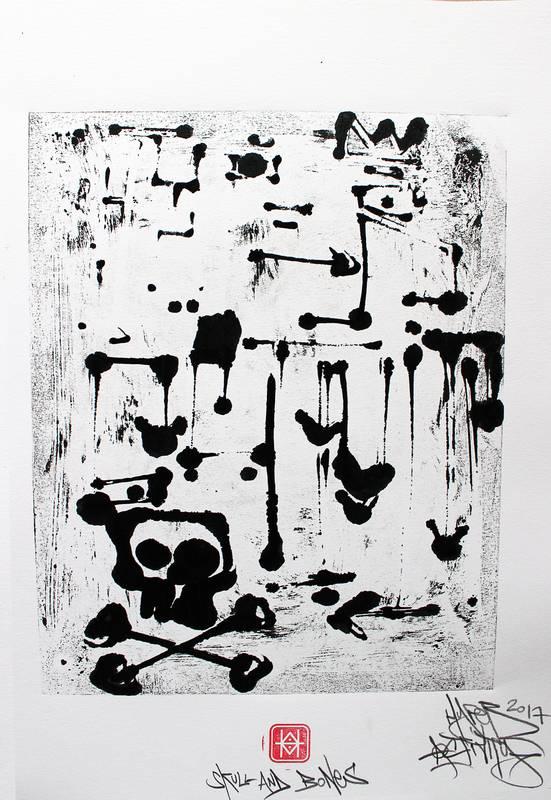 """""""Skull and Bones"""", Estampe imprimé en exemplaire unique, avec la technique du monotype par Hyperactivity Rocks"""