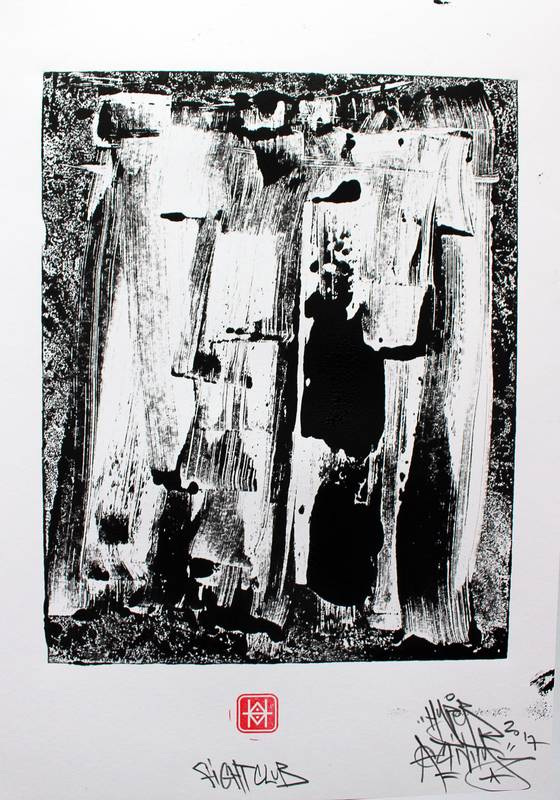"""""""Fight Club"""", Estampe imprimé en exemplaire unique, avec la technique du monotype par Hyperactivity Rocks"""